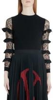 Valentino Ruffle Lace Sleeve Sweater