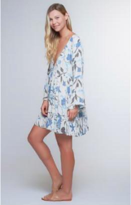 Beachgold Bali - Small Medium Rayon Boho Paradise Frill Dress - Small/Medium - Grey/Blue