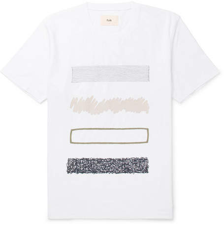 Folk Embroidered Printed Cotton-Jersey T-Shirt