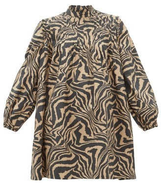 Ganni Tiger-print Pintucked Cotton Smock Dress - Black Beige