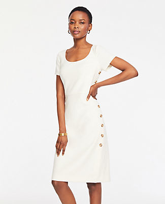 Ann Taylor Tall Doubleweave Side Button Sheath Dress