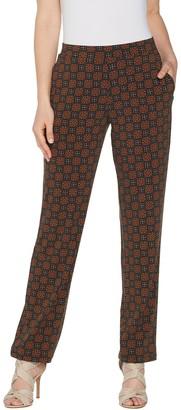 Susan Graver Petite Printed Liquid Knit Straight Leg Pants