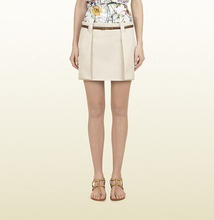 Gucci Beige Cotton Cavalry Mini Skirt With Leather Belt