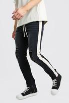boohoo Mens Black Skinny Busted Knee Jeans With Tape & Belt, Black