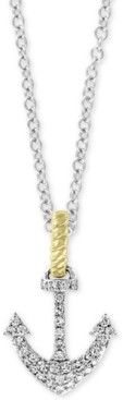 """Effy Diamond Two-Tone Anchor 18"""" Pendant Necklace (1/6 ct. t.w.) in 14k Gold & White Gold"""