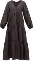Matteau - The Long Sleeve Tiered Cotton Dress - Womens - Black