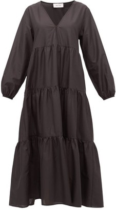 Matteau The Long Sleeve Tiered Cotton Dress - Black