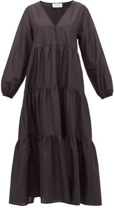 Matteau - The Long Sleeve Tiered Cotton Dress - Womens - Black