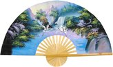 Oriental Furniture Asian Art, Decor and Gifts, 60-Inch Painted Thai Silk and Bamboo Decorative Wall Fan, Fantasy Valley