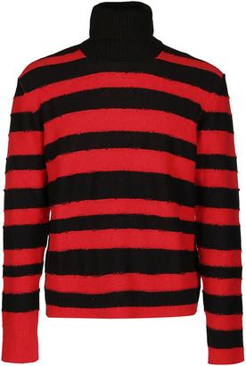 Diesel Black And Red Wool-cotton Blend Jumper