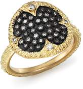 Armenta Blackened Sterling Silver & 18K Yellow Gold Old World Pave Champagne Diamond Disc Ring