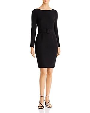Donna Karan Scoop-Back Belted Sheath Dress