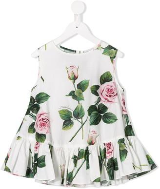 Dolce & Gabbana Tropical Rose print top