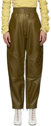 Acne Studios Khaki Leather High-Rise Trousers