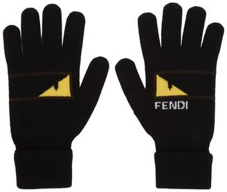 Fendi Black and Yellow Bag Bugs Mono Eye Gloves