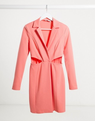 Flounce London mini tux wrap dress with cut outs in coral
