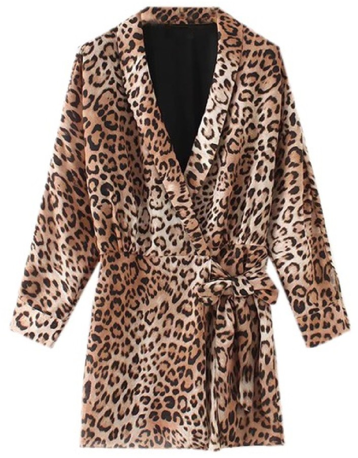 Goodnight Macaroon 'Pablo' Leopard Print Belted Wrap Romper