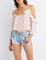 Charlotte Russe Ruffle-Trim Cold Shoulder Crop Top