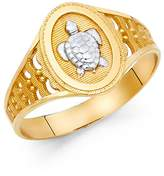 Paradise Jewelers Two Tone 14K Solid Gold Engraved Turtle Ring, Size 7