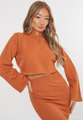 Missguided Camel Co Ord Half Zip High Neck Sweater