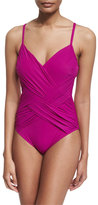 Gottex Lattice V-Neck One-Piece Swimsuit, Magenta
