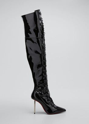 Christian Louboutin Epic et French Patent Lace-Up Over-the-Knee Boots