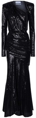 ATTICO Sequined ruched jersey gown