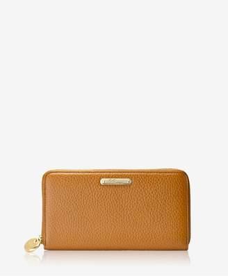 GiGi New York Large Zip Around Wallet In Camel Napa Luxe