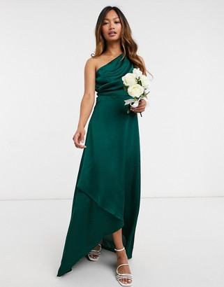 TFNC Bridesmaid one shoulder maxi dress in green