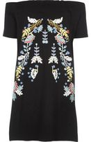 River Island Womens Black floral print oversized bardot top