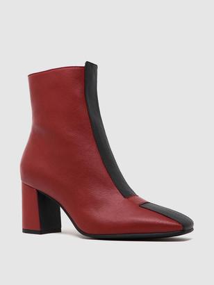 Sylven JAYNE Two-Tone Scarlet/Black Vegan Apple Leather Boot