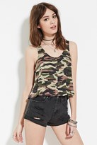 Forever 21 FOREVER 21+ Camo Snap-Buttoned Top