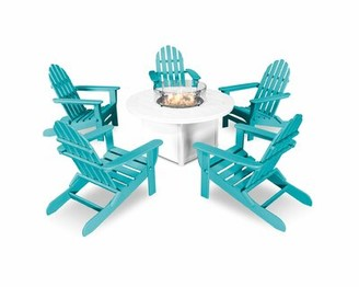 Polywood Classic Folding Adirondack 6-Piece Multiple Chairs Seating Group Color: Aurba/White