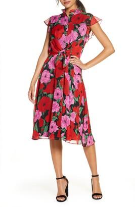 Julia Jordan Floral Flutter Sleeve Fit & Flare Dress