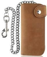 Men's Bifold Vintage Long Style Cow Top Grain Leather Steel Chain Wallet