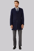 Moss Bros Tailored Fit Navy Double Faced Overcoat
