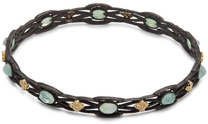 Armenta Women's Old World White Diamond, Chrysoprase, Rainbow Moonstone & 18K Goldplated Sterling Silver Bangle