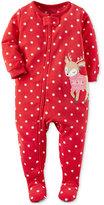 Carter's 1-Pc. Dot-Print Reindeer Footed Pajamas, Little Girls (2-6X) & Big Girls (7-16)