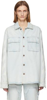 Off-White Off White Blue Denim Oversized Bleach Diag Shirt