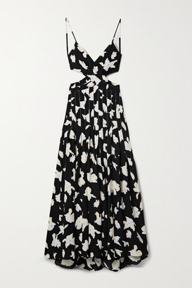 Proenza Schouler Cutout Wrap-effect Pleated Floral-print Georgette Maxi Dress - Black