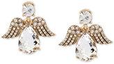 Betsey Johnson Gold-Tone Patina Crystal Angel Drop Earrings