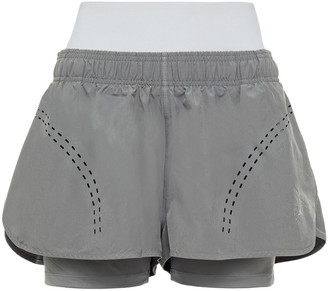 adidas by Stella McCartney Layered Perforated Shell Shorts