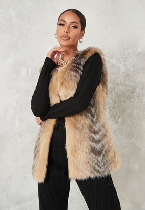 Missguided Beige Chevron Tipped Faux Fur Gilet