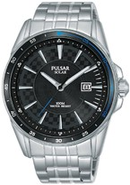 Pulsar Pulsar Solar Accelerator Black Date Dial Stainless Steel Bracelet Mens Watch