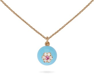 David Morris Rose Gold, Diamond and Sapphire Berry Pendant