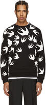 McQ by Alexander McQueen Black and White Swallows Clean Sweatshirt