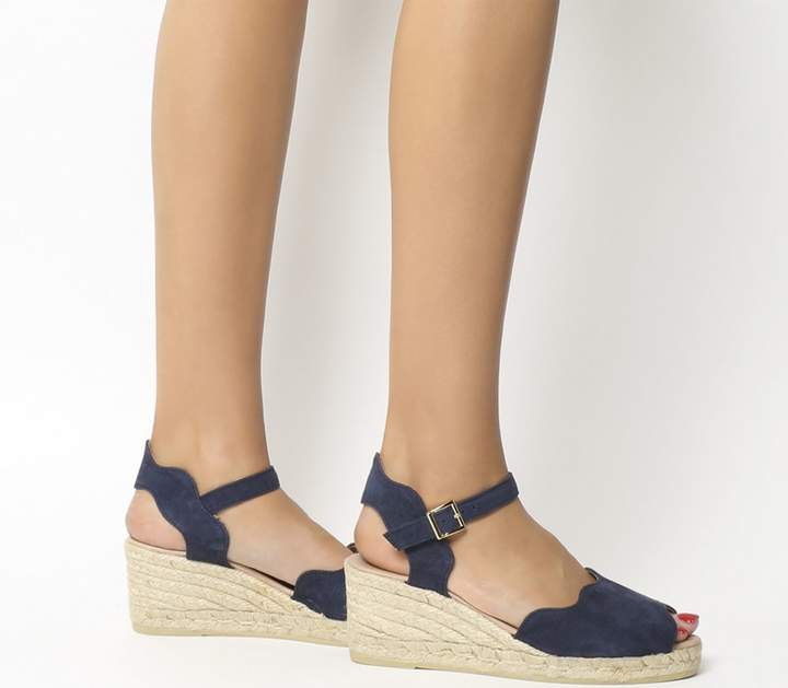 0ff6bdeae1f For Office Round Wedge Espadrilles Navy Suede