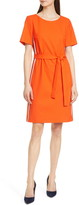 BOSS Dasanna Belted Short Sleeve A-Line Dress