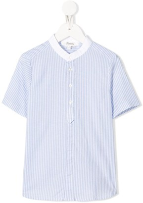 Bonpoint Striped Mandarin Collar Shirt