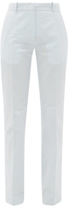 Pallas Paris - Giacomo Striped Cotton-seersucker Trousers - Blue White